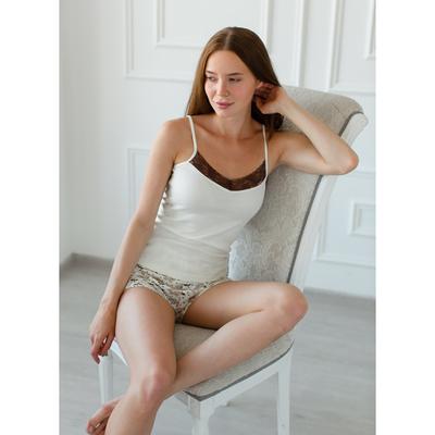 Комплект женский (майка, шорты) Эмилия, цвет молоко, размер 52
