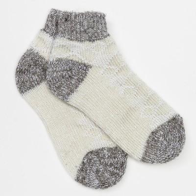 Носки детские укороченные, цвет белый/серый, размер 18-20