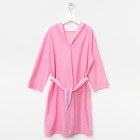 Халат махровый с капюшоном для девочки, рост 110-116 см, цвет розовый