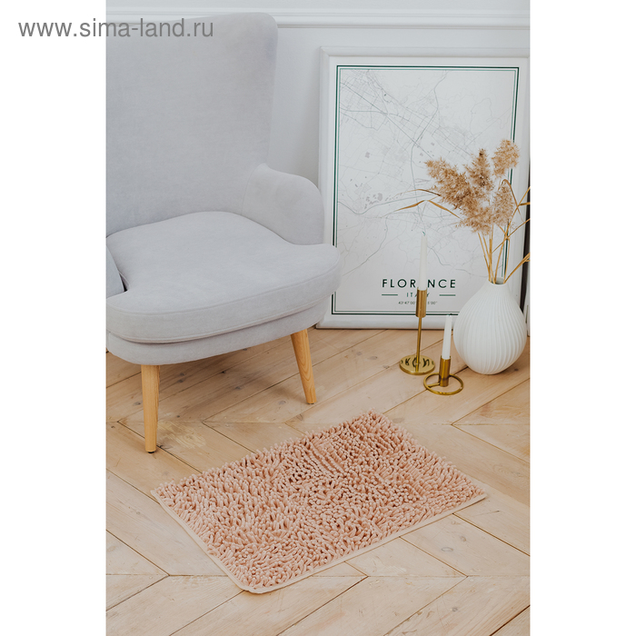 """Bath Mat """"and Wore long"""", color beige"""