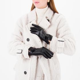 Перчатки женские безразмерные, комбинированные, без подклада, для сенсорных экранов, цвет чёрный Ош