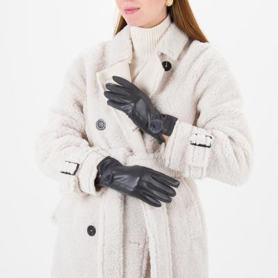 Women's gloves dimensionless, combined, without padding, for touch screens, colour grey