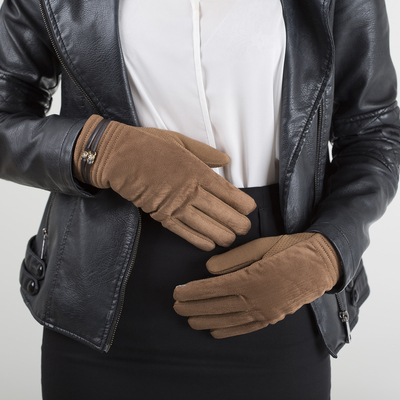 Women's oversized gloves, fleece lining, touch screen, color beige