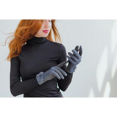 Women's gloves for touch screens, dimensionless, without padding, color gray