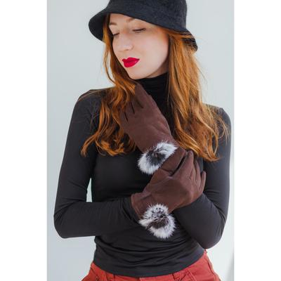 Women's oversized gloves, without padding, for touch screens, coffee color