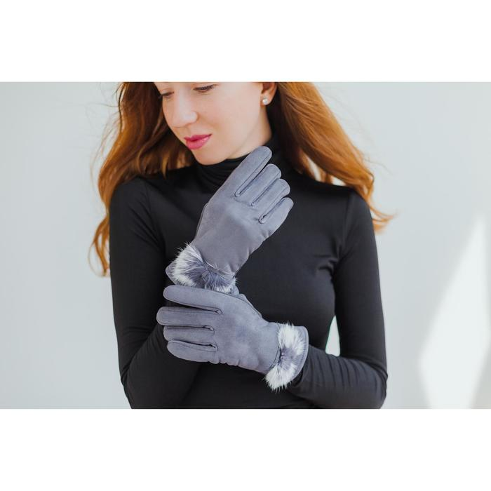 Перчатки женские безразмерные, без подклада, для сенсорных экранов, цвет серый - фото 726872876