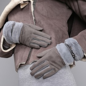 Women's oversized gloves, no padding, touch screen, color grey