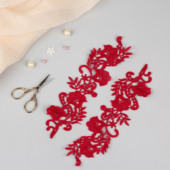 Аппликации пришивные «Лейсы», 29 × 7 см, пара, цвет красный