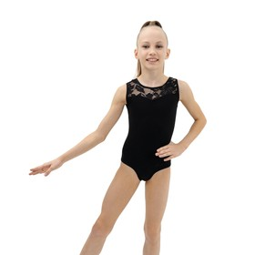 Купальник гимнастический, кокетка кружево, без рукава, размер 30, цвет чёрный