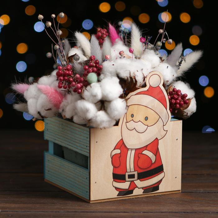 Кашпо деревянное «Дед мороз 2021», голубой, 13 х 13 х 9 см - фото 308251340