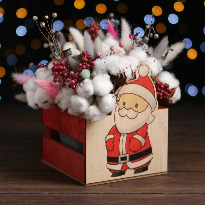 Кашпо деревянное «Дед мороз 2021», красный, 13 х 13 х 9 см - фото 308251342