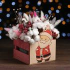 Кашпо деревянное «Дед мороз 2021», розовый, 13 х 13 х 9 см - фото 308251343