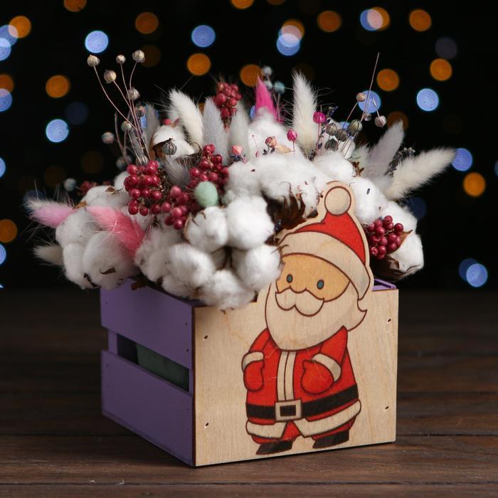 Ящик реечный Дед мороз (печать) 13х13х9/15 см, фиолетовый