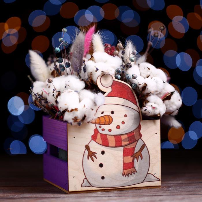 Ящик реечный Снеговик (печать) 13х13х9/15 см,фиолетовый