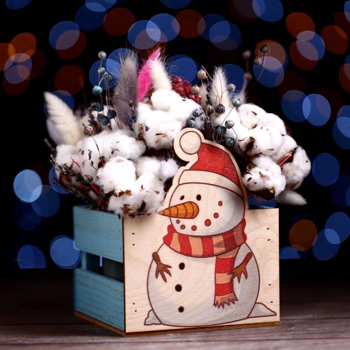 """Кашпо деревянное """"Снеговик 2021"""", голубой, 13 х 13 х 9 см - фото 308251352"""