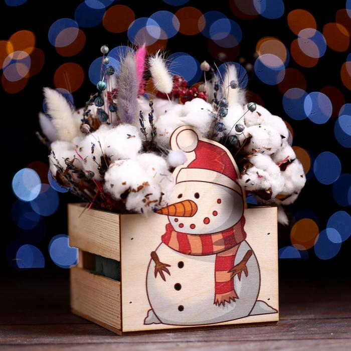 Ящик реечный Снеговик (печать) 13х13х9/15 см, натур