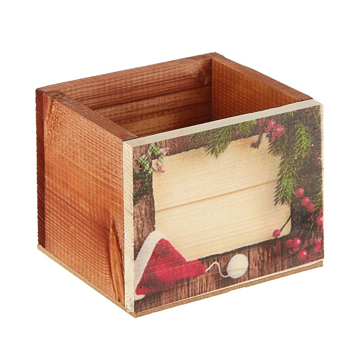 Ящик из массива сосны , 12,5 х 10,5 х 9,5 см , новогодний №2