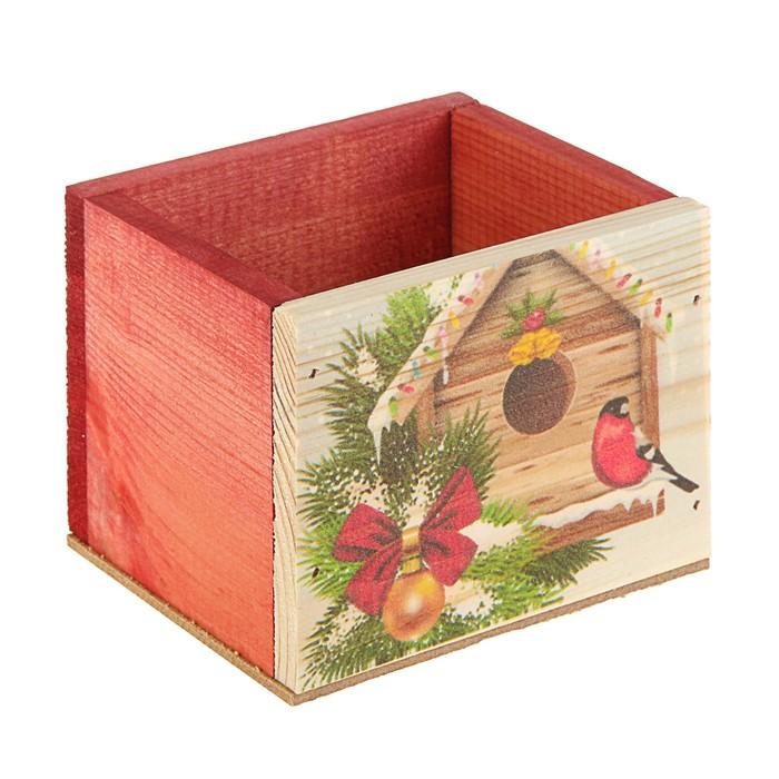 Ящик из массива сосны ,12,5 х 10,5 х 9,5 см, новогодний №4