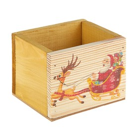 Ящик из массива сосны 12,5х10,5х9,5 см новогодний №5