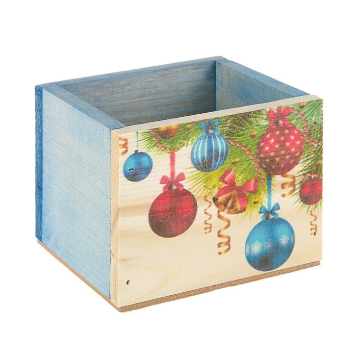 Ящик из массива сосны , 12,5 х 10,5 х 9,5 см , новогодний №6