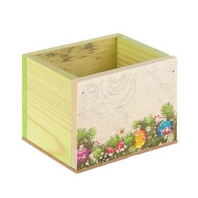 Ящик из массива сосны 12,5х10,5х9,5 см новогодний №7