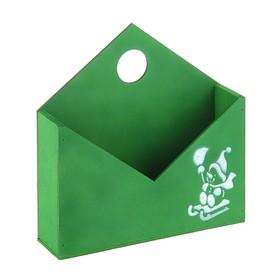 """Кашпо-конверт """"Снеговик в санях"""", зеленый, 24 х 24 х 5 см"""