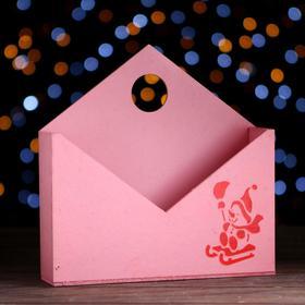 """Кашпо-конверт """"Снеговик в санях"""", розовый, 24 х 24 х 5 см"""