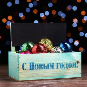 Кашпо с грифельной табличкой «С новым годом» , 24,5 х 14,5 х 20 см
