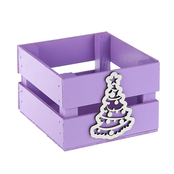 Ящик реечный «Ёлочка»(декор) 13 х 13 х 9 см, фиолетовый