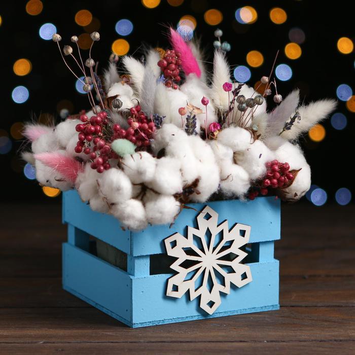 Ящик реечный Снежинка 13х13х9  см,голубой