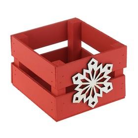 Ящик реечный Снежинка 13х13х9 см,красный