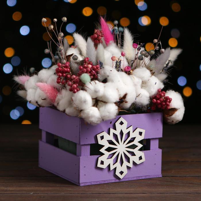 Ящик реечный Снежинка 13х13х9 см,фиолетовый