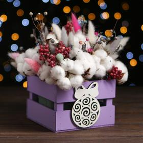"Кашпо деревянное ""Новогодний шарик"", фиолетовый, 13 х 13 х 9 см"