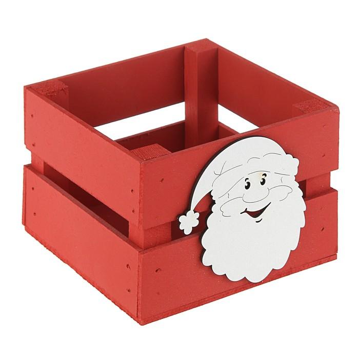 Ящик реечный «Дед мороз» (декор) 13 х 13 х 9 см,красный