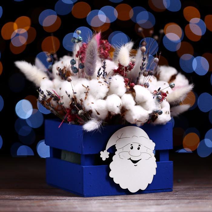 Ящик реечный «Дед мороз» (декор) 13 х 13 х 9 см,синий