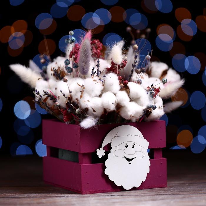 Ящик реечный «Дед мороз»(декор) 13 х 13 х 9 см,бордо
