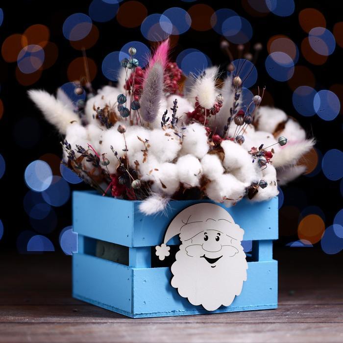 Ящик реечный «Дед мороз» (декор) 13 х 13 х 9 см,голубой