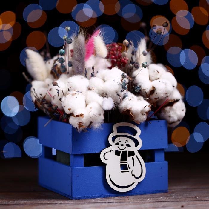 Ящик реечный Снеговик   (декор) 13х13х9  см,синий
