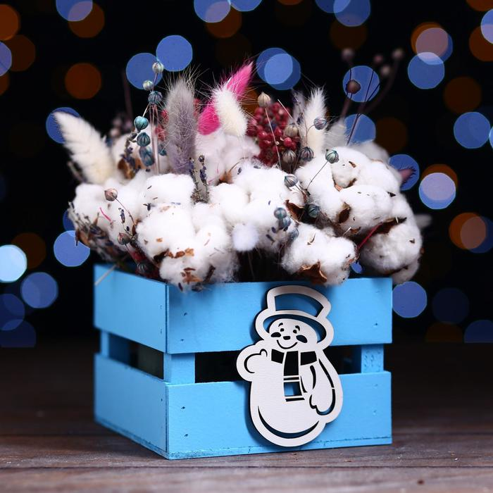Ящик реечный «Снеговик»(декор) ,13х13х9 см,голубой