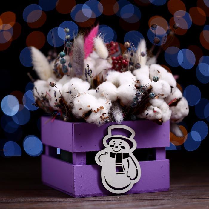 Ящик реечный Снеговик  (декор) 13х13х9 см,фиолетовый