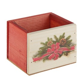 Ящик из массива сосны ,12,5 х 10,5 х 9,5 см , новогодний №10