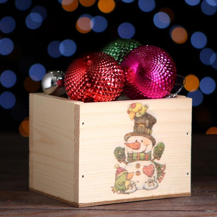 Ящик из массива сосны ,12,5 х 10,5 х 9,5 см ,новогодний №12