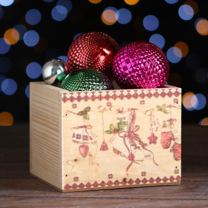 Ящик из массива сосны ,12,5 х 10,5 х 9,5 см, новогодний №16