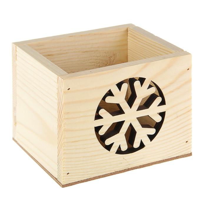 Новогодний ящик с резными элементам , 12,5 х 10,5 х 9,5 см, № 4 Натур