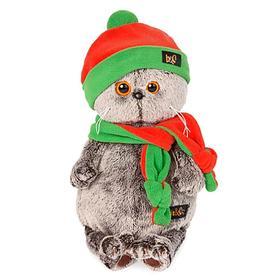 Мягкая игрушка «Басик», в оранжево-зелёной шапке и шарфике, 19 см