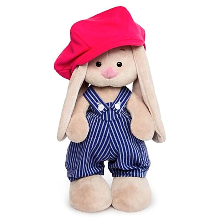 """Мягкая игрушка """"Зайка Ми"""" в синем комбинезоне в полоску и с малиновой кепкой, 32 см"""