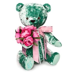 Bear BernArt soft toy, emerald color, 30 cm