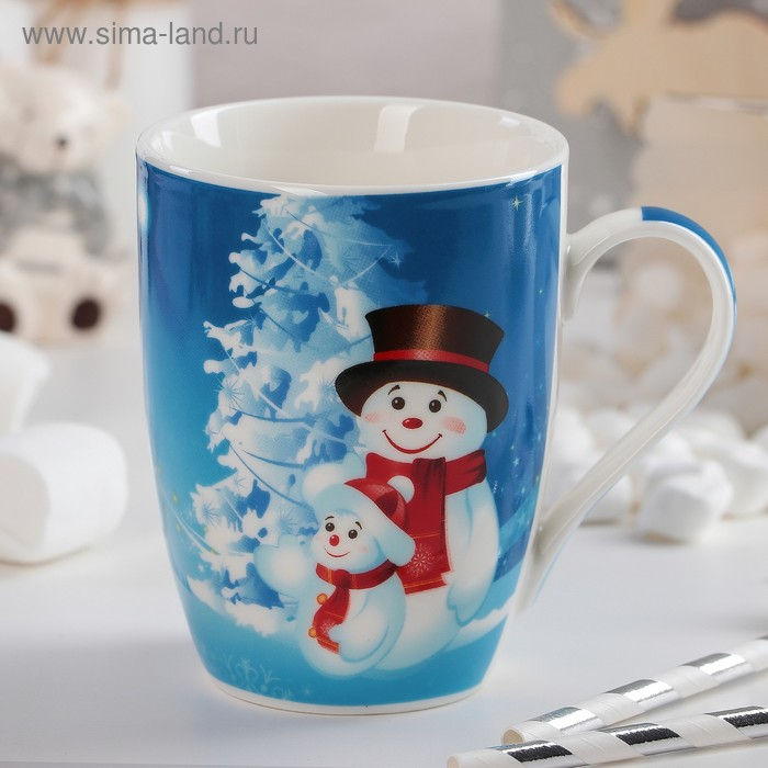 "Mug 350 ml ""Snowmen. Father and son"""
