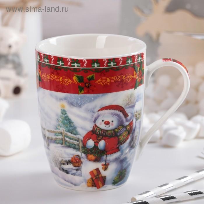 "350 ml mug ""Snowman with a basket"""
