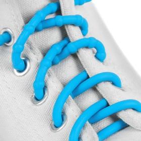 Шнурки для обуви, пара, силиконовые, круглые, d = 5 мм, 45 см, цвет голубой